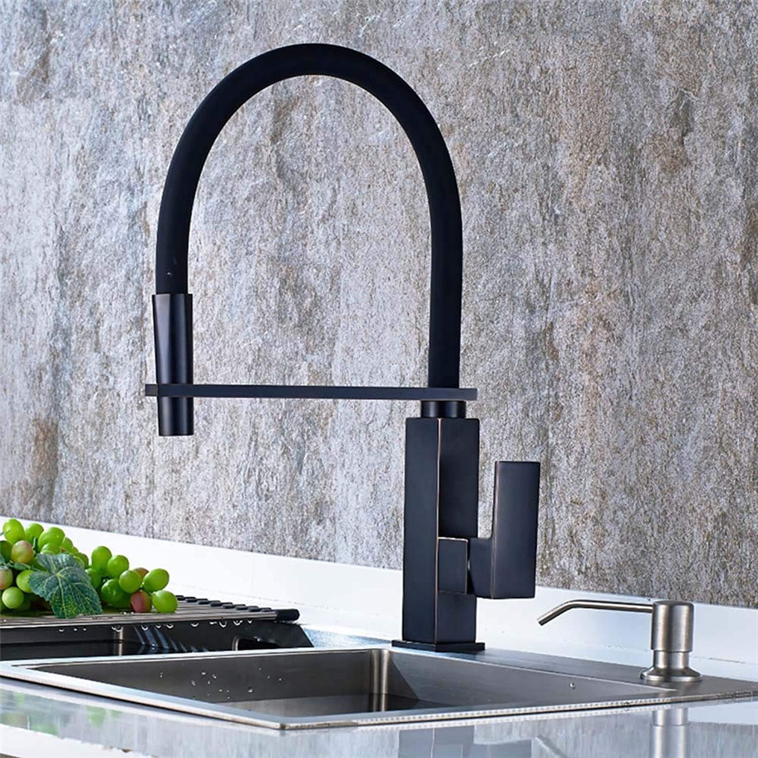 FUSKANG Oil Scrubbed Kitchen Faucet Bronze Black Hot And Cold, Kitchen Sink Wash Basin Faucet Pull Down, Antique Bowl Sink Faucet Mixer Turned