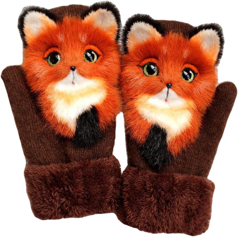 Women's Animal Plush Gloves Girls Hand-Knitted Pet Gloves Handmade Cute Furry Winter Gloves