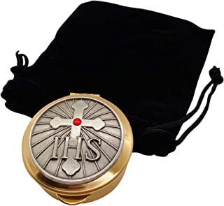 JWG Industries PYX with IHS Cross and Red Stone 1 1/2 x 1/2 Inch