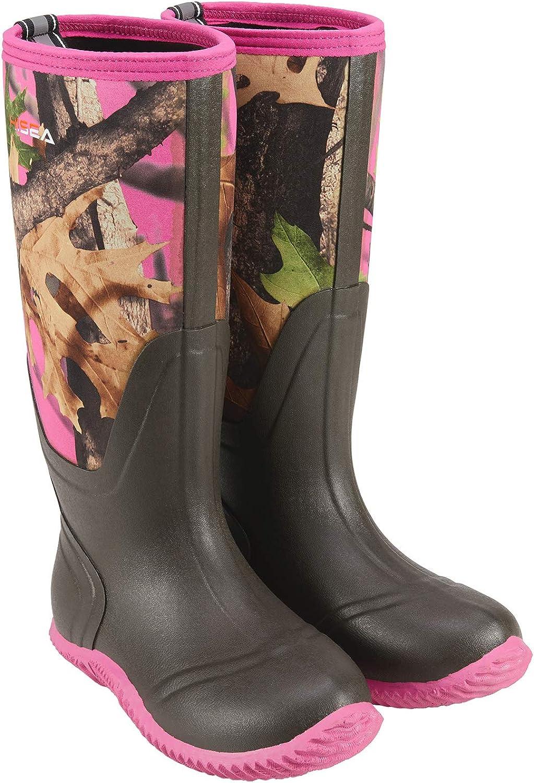 HISEA Women's Rubber Rain Boots Waterproof Insulated Garden Shoes Outdoor Hunting Working Riding Muck Neoprene Boots Mid Calf