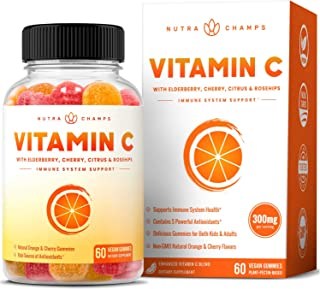 Vitamin C Gummies for Kids & Adults - Immune System Support Vit C Chewable Gummy - Immunity Booster Supplement with Elderb...