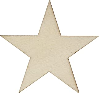 50 Small 1.25 inch Size Wood Stars 1-1/4 inch