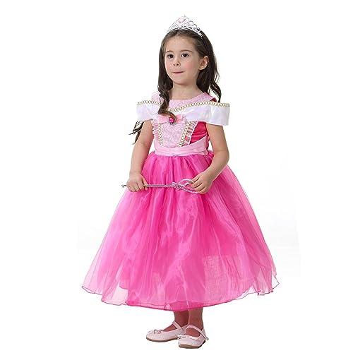 001bef7703bb0 子供 ディズニープリンセス ドレス オーロラ姫 キッズ コスチュームドレス 眠れる森の美女 ピンクドレス ハロウィン