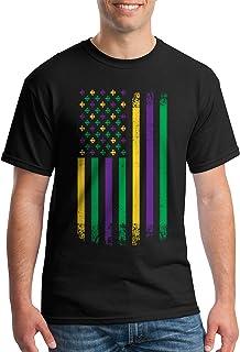 Threadrock Men's Mardi Gras American Flag T-Shirt