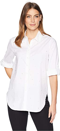 Poplin Roll Sleeve Blouse with All Over Pearl