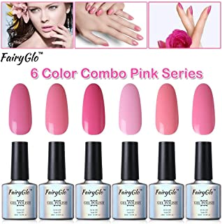 FairyGlo 6 PCS Pink Gel Nail Polish UV LED Soak Off Varnish Lacquer Nail Art Kit Manicure Pedicure Decor Collection Gift Set For Beauty 10ml 004