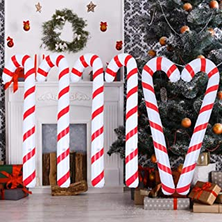 Xgood 6 Pieces Inflatable Christmas Candy Cane Candy Canes Stick Balloons with Inflator Outdoor Candy Canes Decoration for...