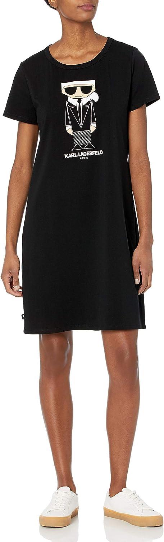 Karl Lagerfeld Paris Women's Short Sleeve Graphic T-Shirt Dress