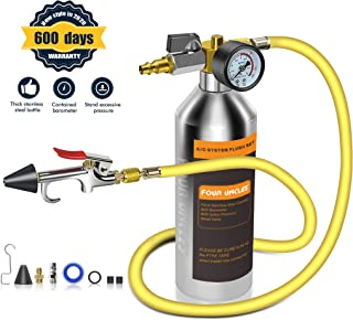 FOUR UNCLES AC Flush Kit,A/C Air Conditioner System Flush Canister Kit Clean Tool Set R134a R12 R22 R410a R404a for Auto Car with 3.5 ft Hose 1/4