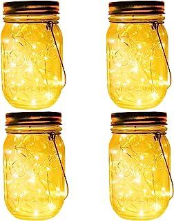4-Pack 30 LEDs Solar Powered Mason Jar Lights, Watrproof Outdoor Hanging Led Fairy Firefly String Lights Lanterns,Best Pat...