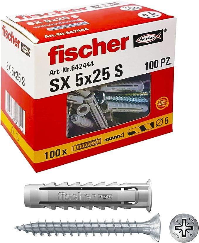 970 opinioni per Fischer 100 Tasselli SX con vite, 5 x 25 mm, per Muro pieno e Mattone Forato,