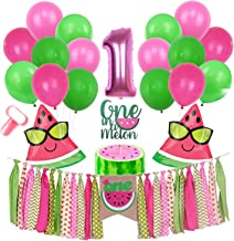 Inno-Huntz Watermelon Party Supplies One in a Melon 1st Birthday Kit with Balloons 22 Pcs Party Decorations Baby Boy Girl Birthday Highchair Banner For Fruit Theme