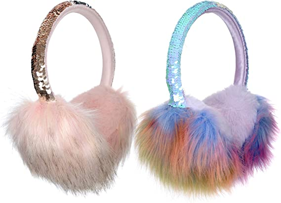 2 Pieces Ear Muffs Warmers for Winter Women Girls Plush Faux Fur Cute Earmuffs Earwarmers With Flip Sequins Headband