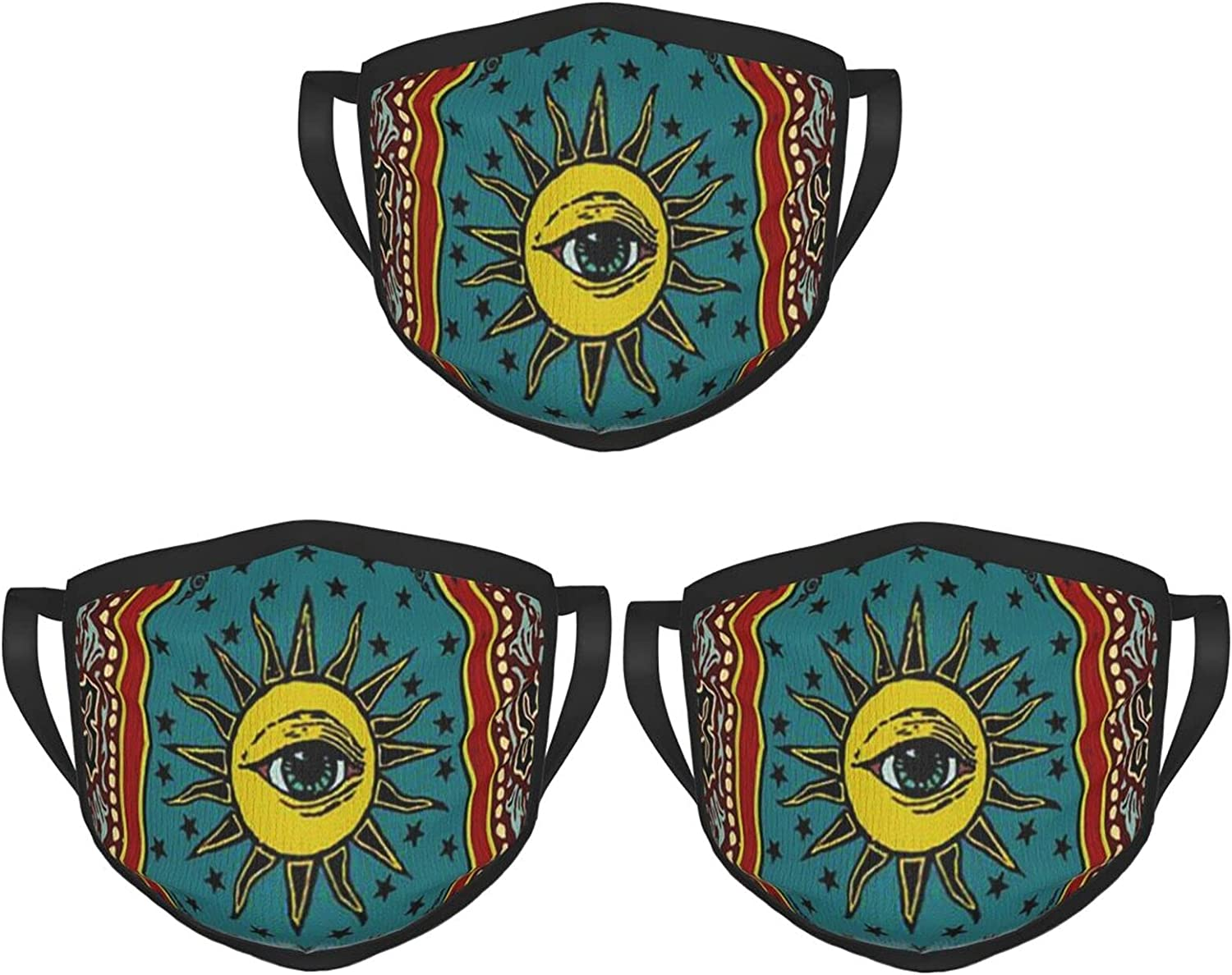 Balaclava Earmuffs Psychedelic Hippie Tarot Luck Fate Sun Eye Face Mouth Cover Mask Reusable Windproof Scarf Towel Cover Headwrap