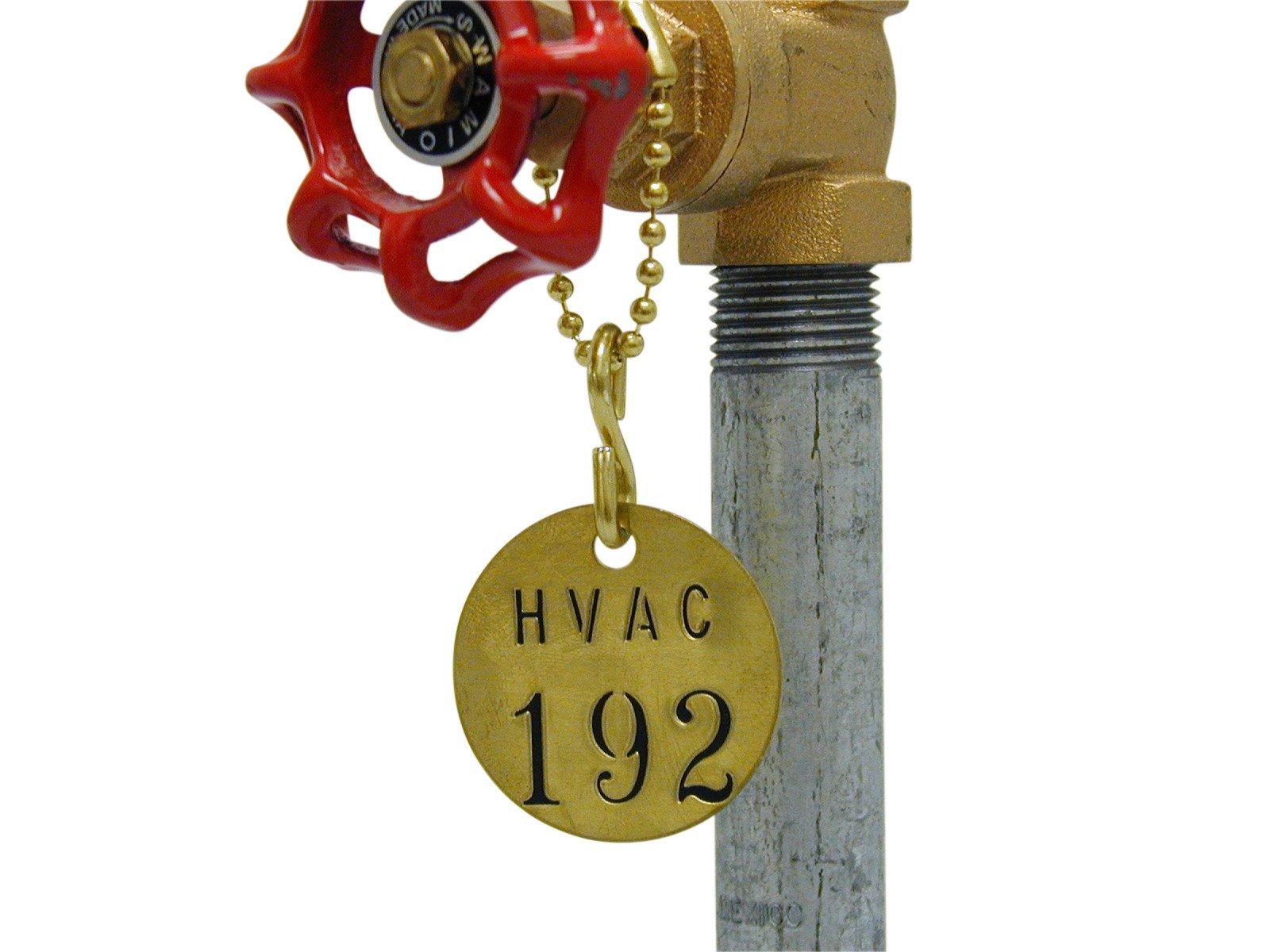 "Brady 232041 1/2"" Diameter Stamped Brass Valve Tags, Numbers 101-125, Legend""(Blank)"" (25 per Package)"