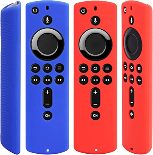 Pinowu Silicone Cover Case for TV Stick 4K Compatible with All-New 2nd Gen Alexa Voice Remote Control (2pcs:Red and B...