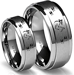 dee6e2ce97 Her Buck & His Doe Tungsten Ring Set - Couples Ring Set - Hunting Him and