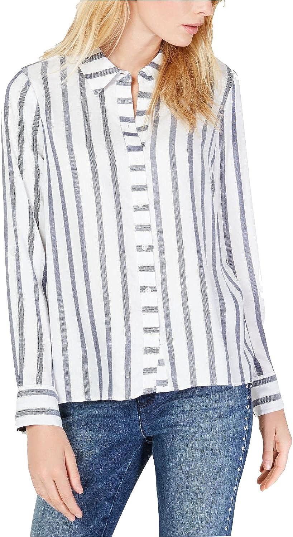 INC Womens Button Down Shirt Stripe Metalllic Top White XXL