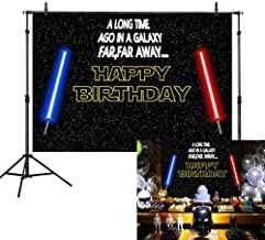 Allenjoy 7x5ft Happy Birthday Theme Backdrop Star Black Sky Universe Wars Blue and Red Lightsaber Photography Background Boy Baby Shower Party Cake Table Decoration Banner Photo Booth Studio Props