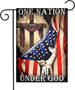 TFDXIH One Nation Under God Jesus Christian Cross Flag 12 x18 Inch Christian Cross Jesus Flag Christian Flag Yard Flags for Home House Decorative Yard Deluxe Indoor Outdoor Banner