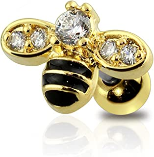 Gem Paved Epoxy Honey Bumble Bee Cartilage Earring 316L Surgical Steel Size 16GA 1/4