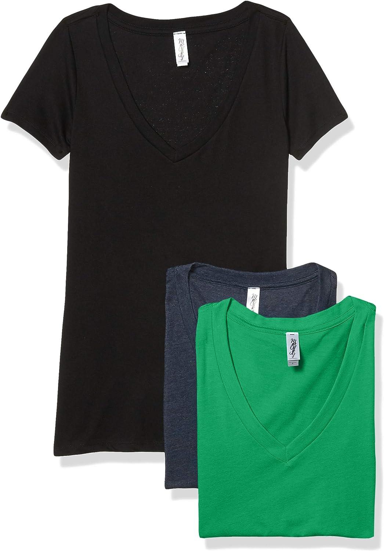 Marky Ranking TOP6 G Apparel Women's CVC Ranking TOP2 Deep Short T-Shirt Tee V-Neck Sleeve