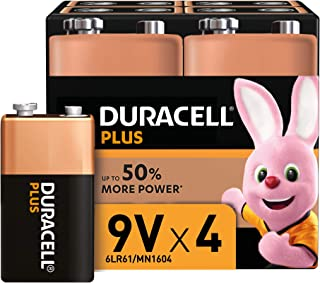 Duracell Plus 9 V Alkaline Batteries for Smoke Alarms, 1.5 V, 6LR61 MX1604 Ideal for Smoke Alarms, Pack of 4