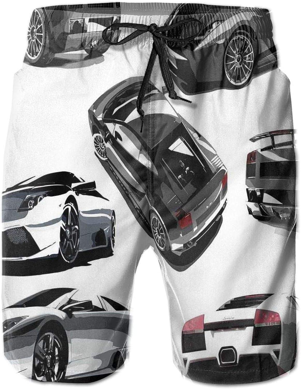MUJAQ Grey Cars from Various Angles Automobile Industry Theme Vehicle Mens Swim Shorts Casual Workout Short Pants Drawstring Beach Shorts,XXL