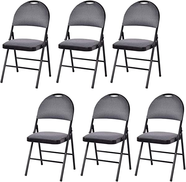 Giantex 6 Pack Folding Chair With Handle Hole Upholstered Padded Seat And Back With Metal Frame For Home Office Party Use Grey