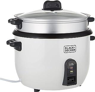Black & Decker Rc2850-B5 2.8 Liter Non-Stick Rice Cooker, White, Stainless Steel Material