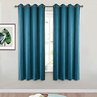 StangH Teal Velvet Drapes 63-inch – Luxurious Home Decor Window Covering Soundproof..