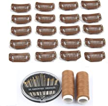 50pcs Wig Clips Metal Snap Clips for Hair Extensions DIY Wig Combs 9-teeth 32mm 1.2g/pc, 2pcs Weaving Thread, 1set/30pcs Needls (Light Brown)