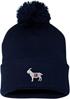 Go All Out Adult Goat #12 Embroidered Knit Beanie Pom Cap