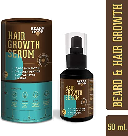 Beardhood Beard and Hair Growth Serum -Biotin, Collagen Peptide, Ginseng & Saw Palmetto, 50ml