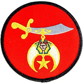 Shrine Scimitar Red Mason Shriners Embroidered Patch Iron Sew PWPM5036