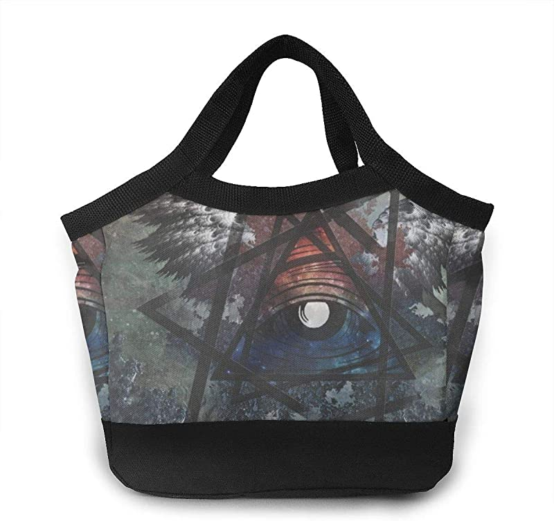 Unisex Lunch Bag Tote With Straps Illuminati Cave Backpack Lunch Container For School Office Picnic