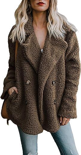 معطف دافئ للنساء من زينوي من الفرو الصناعي ملابس خارجية كبيرة الحجم لفصل الشتاء، لون بني - مقاس S