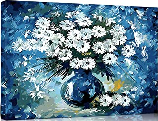 SHUAXIN Paint by Numbers DIY Acrylic Painting Kit for Adults & Kids – 16x20 inch Blue Daisies Flowers with 3 Brushes & Bright Colors (Wooden Framed)