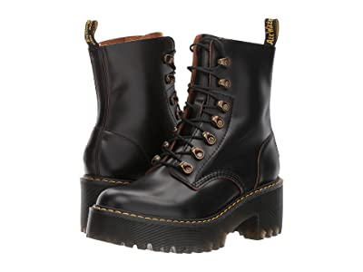 Dr. Martens Leona 7 Hook Boot (Black Vintage Smooth) Women
