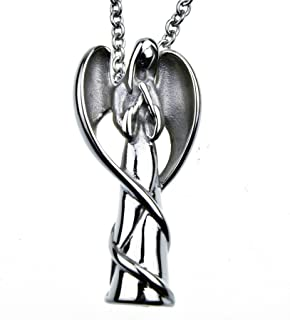 mEssentials Angel Memorial Cremation Jewelry Urn Necklace for Ash Stainless Steel 18