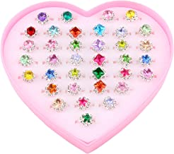 Fineder 36pcs Colorful Rhinestone Gem Rings in Box, Adjustable Little Girl Jewel Rings in Box Children Kids Little Girl Gift, Girl Pretend Play and Dress up Rings