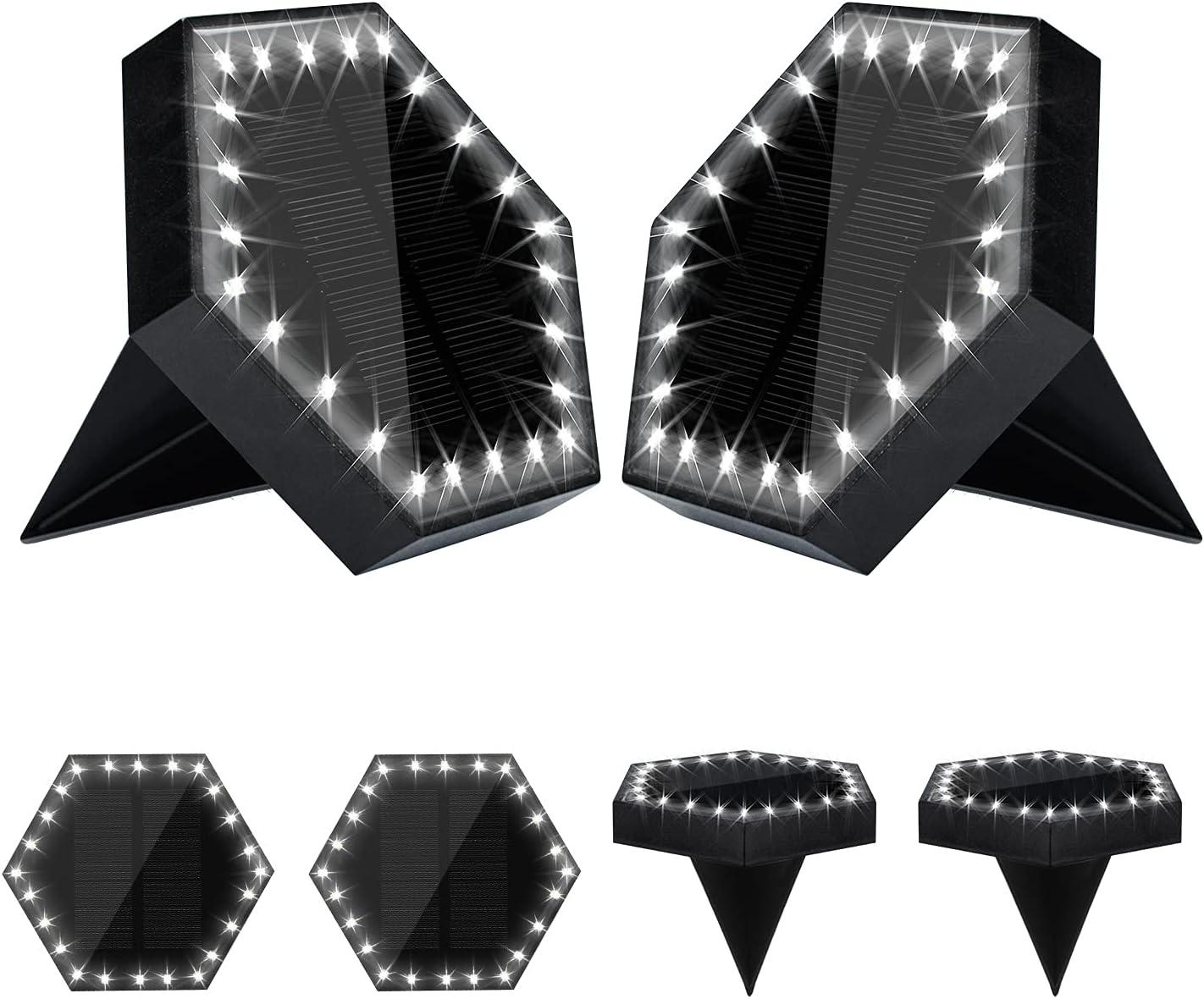 Solar Ground Light Max 59% OFF 24 LED Outdoor Disk 4 years warranty Hexagonal Lights
