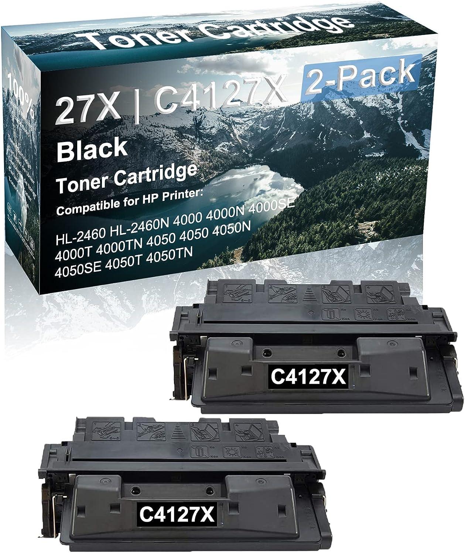 2 Pack Compatible 4000T 4000TN 4050 4050 4050N Laser Toner Cartridge (High Capacity, Black) Replacement for HP 27X | C4127X Printer Toner Cartridge