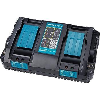 WaxPar 2口充電器 互換充電器 DC18RD マキタ 18v 14.4v バッテリ 対応 BL1430 BL1440 BL1450 BL1460 BL1815 BL1830 BL1840 BL1850 BL1860 BL1430B BL1460B BL1830B BL1850B BL1860B 充電器電圧 安定入力調整 4A電量表示 自動診断