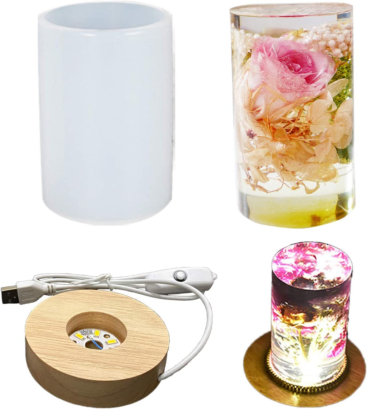SOWFLYGO Silicone Molds Cylinder Gorgeous Light wi Mold Resin Outlet SALE