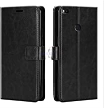 Xester® Vintage Leather Flip Cover Case Compatible with REDMI MI MAX 2 | Inner TPU | Foldable Stand | Magnetic Closure | Wallet Card Slots - Black