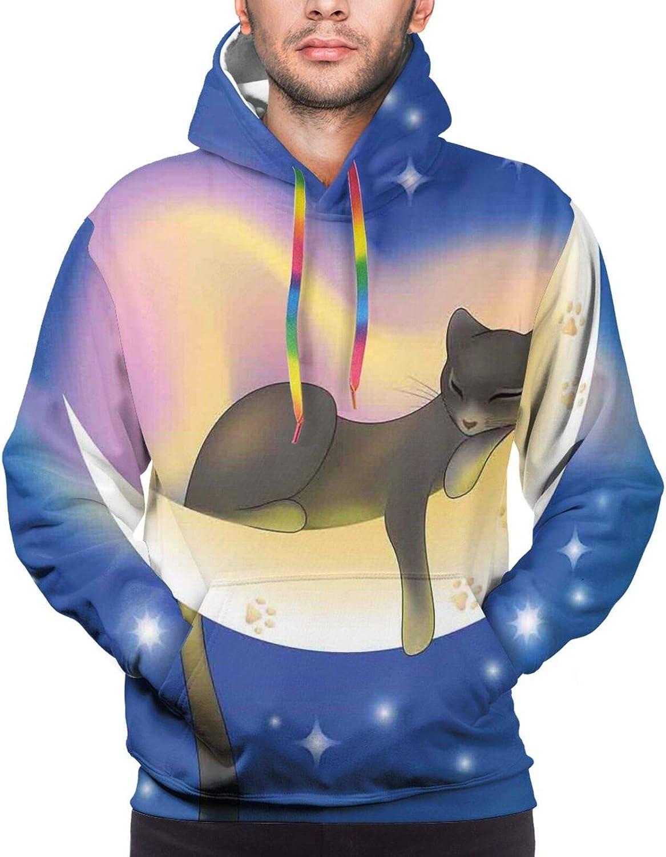 Men's Hoodies Sweatshirts,Cat Scribbles Cute Lovers in A Box Look Kitten Cuteness with Whiskers