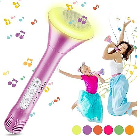Magicfun Microphone Sans Fil Karaoké, Microphone Bluetooth avec 5 lumières LED de couleur, Karaoké Portable 4 en 1 pour lecteur de Home Party, Compatible avec les appareils Android iOS (Rose)