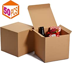 MESHA Kraft Boxes,Brown Gift Boxes 6 x 6 x 6 inches, Paper Gift Boxes with Lids for Gifts, Crafting, Cupcake Boxes (50)