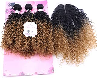 Synthetic Hair Weave Kinky Curly Hair Bundles With Closure Color T1B/27# Two Tone Ombre 16 18 20 Inches With 18